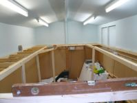 Early days with baseboards under construction  [7 Baseboard frames nearly done.jpg uploaded 12 May 2017]