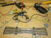 Points and motors  [Installing point motors and microswitches.jpg uploaded 12 May 2017]